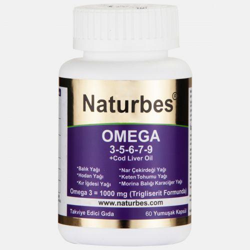 Naturbes Omega 60 - Omega 3 - 5 - 6 - 7 - 9 ve Omega 11 (KARGO BEDAVA)